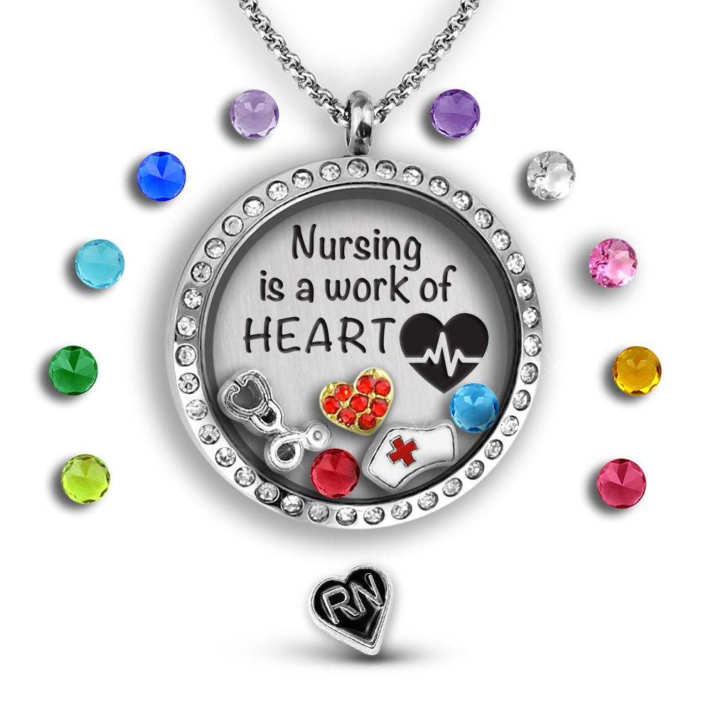 Nurse gift nursing is a work of heart floating charms