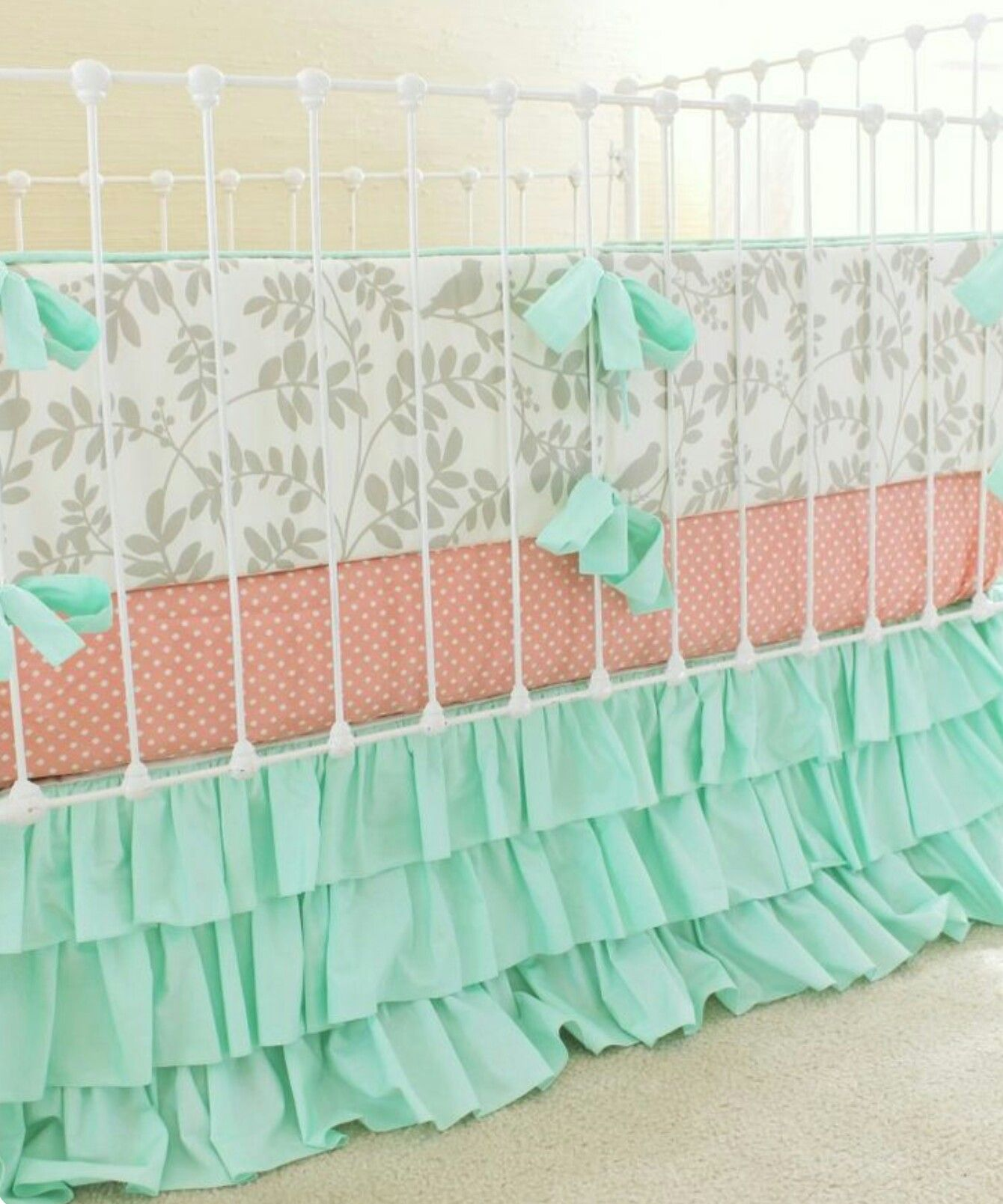 Light Grey Mint Green And Peach Baby Girl Bedding