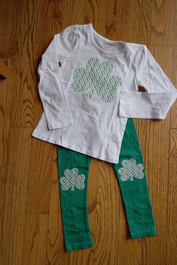 362ca670309f9 Girls St Patrick's Day outfit; Shamrock shirt and legging set; Toddler  Girl's Green clothing set; G