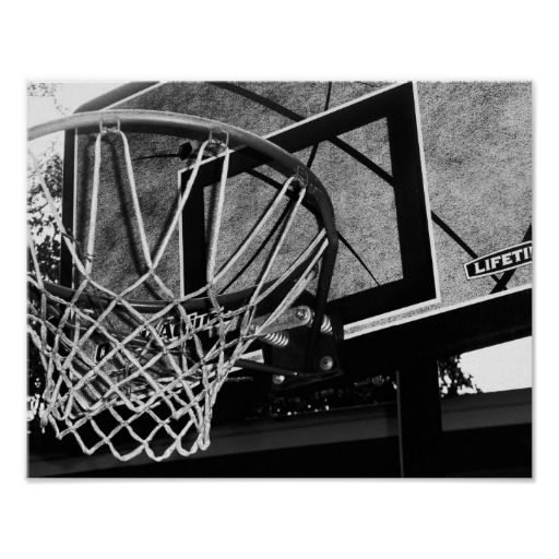 Black and white basketball poster