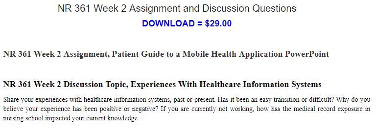 NR 361 Week 2 Assignment, Patient Guide to a Mobile Health