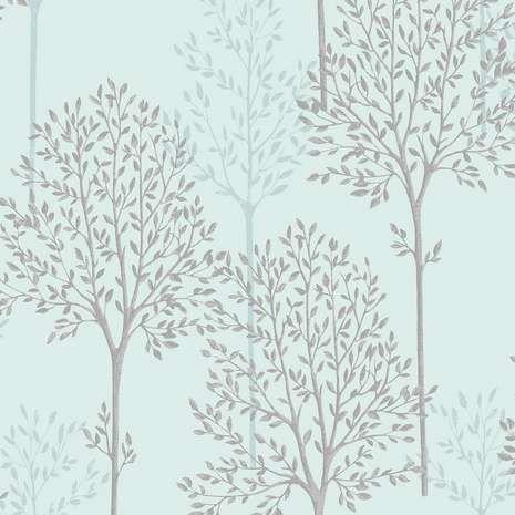 Duck Egg Spriggy Trees Wallpaper Tree Wallpaper Feature Wall Wallpaper Wallpaper Bedroom Feature Wall