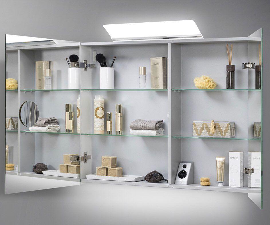Spiegelschrank 90 cm LED Beleuchtung doppelseitig ...