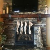 Rustic metal mantel shelf