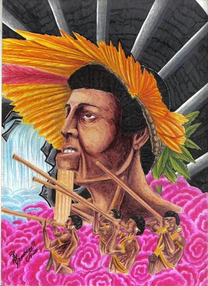Desenho Colorido Realista Feito Em 2003 De Indios Brasileiros Com
