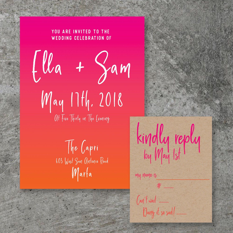 Modern Sunrise desert wedding invitation suite. Printable or custom ...