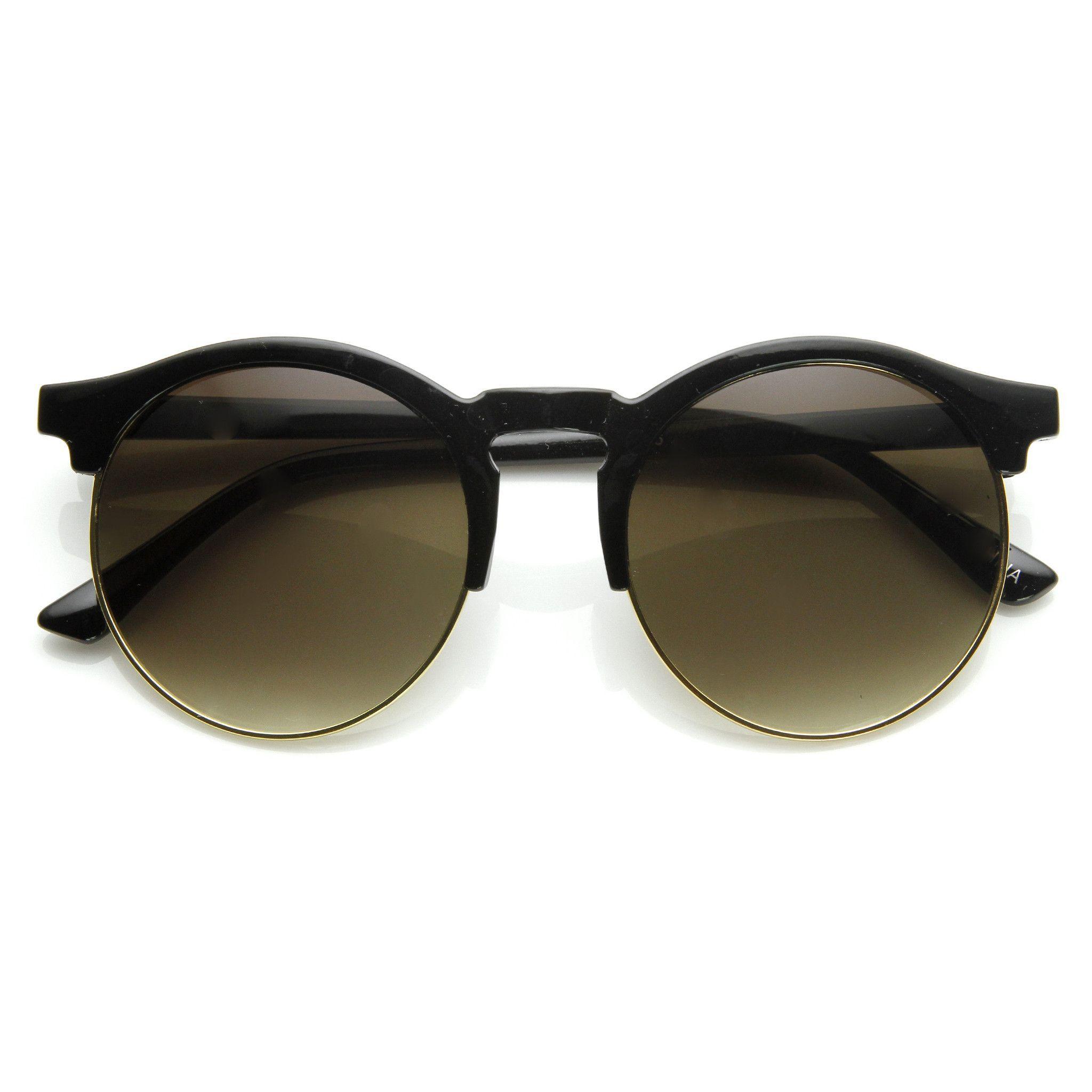 339b5fa7342 Oversize Vintage Designer Inspired Round Indie Half Frame Sunglasses 9173 from  zeroUV