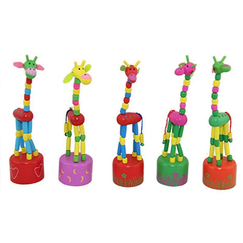 Kids Giraffe Toy Children Wooden Developmental Dancing Standing Rocking Giraffe Handcrafted Toy Free Shipping