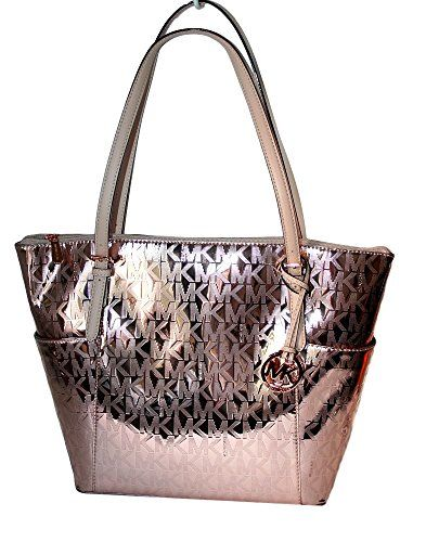 15a5942ab4 Michael Kors Jet Set East West Top Zip Mirror Metallic To... https