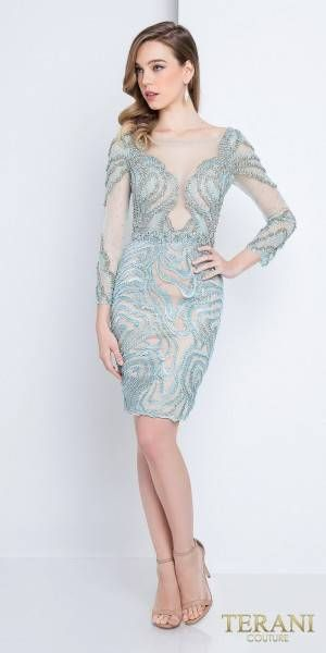 a0843d43f66 Long Sleeve Sheer Illusion Embellished Cocktail Dress by Terani Couture