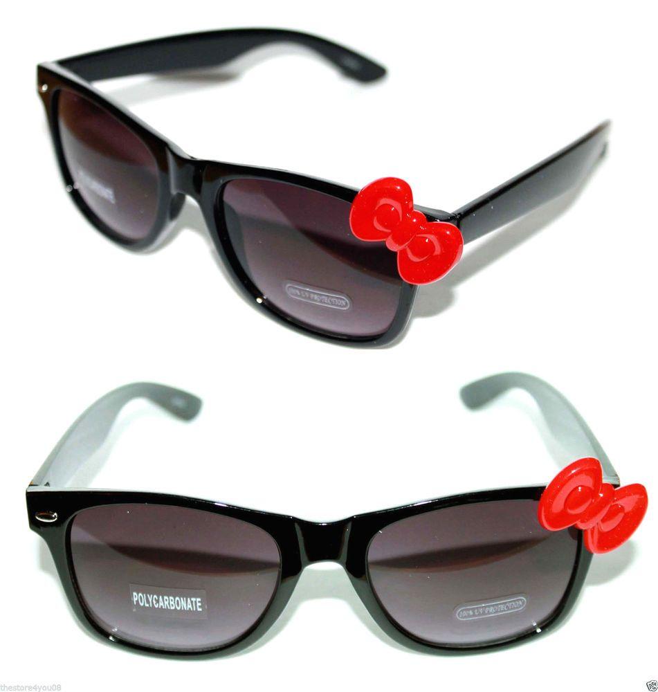 f5485c5342 Women s Horn Rimmed Sunglasses Hello Kitty frame Red Bow Black Lens Retro  520  Unbranded  wayfarer