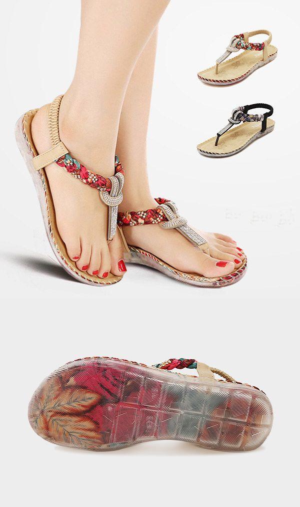 5cf73f928ef8 SOCOFY US Size 5-11 Women Summer Bohemian Beach Soft Comfortable Casual  Fashion Flat Sandals Shoes