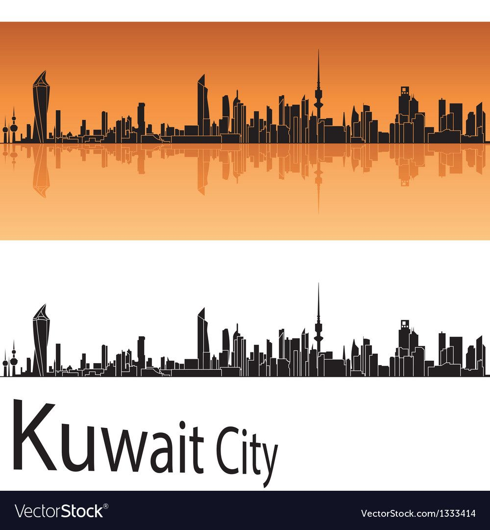 Kuwait City Skyline In Orange Background Vector Image On Vectorstock Kuwait City City Skyline Orange Background