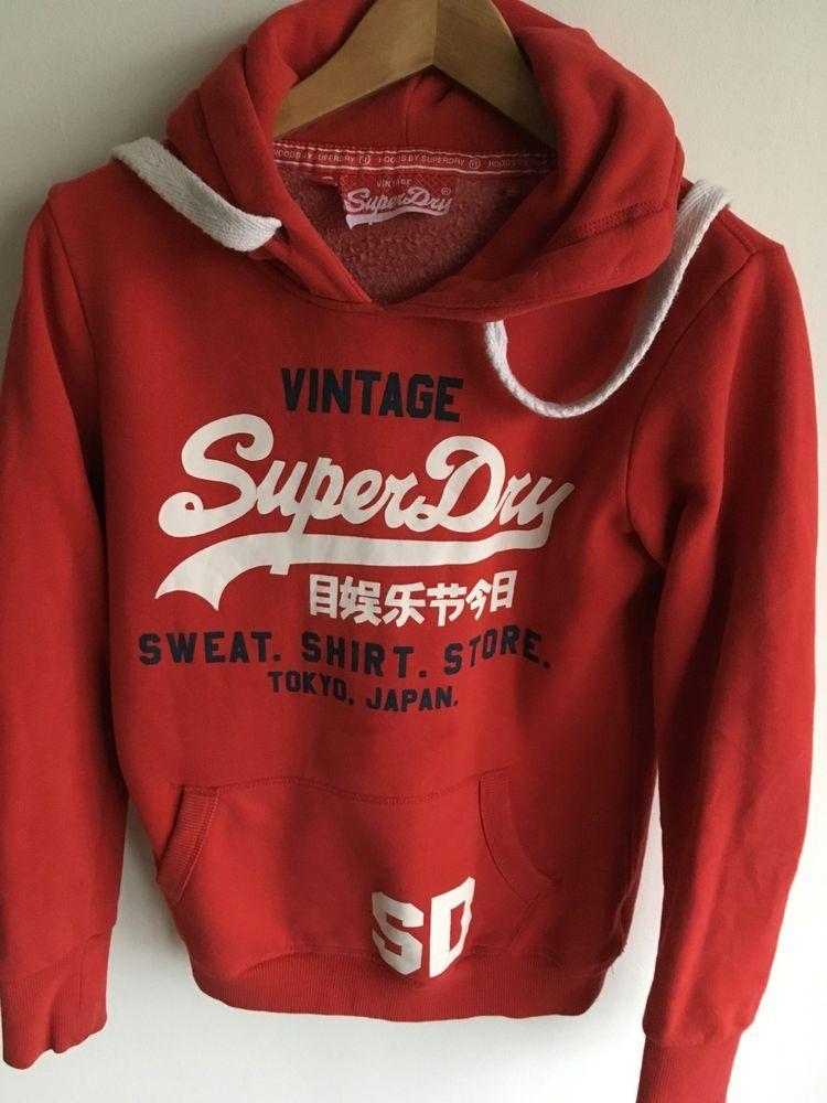 online store cdb2c 2deb6 SUPERDRY WOMENS S SMALL UK 10 36 RED HOODED SWEATSHIRT ...
