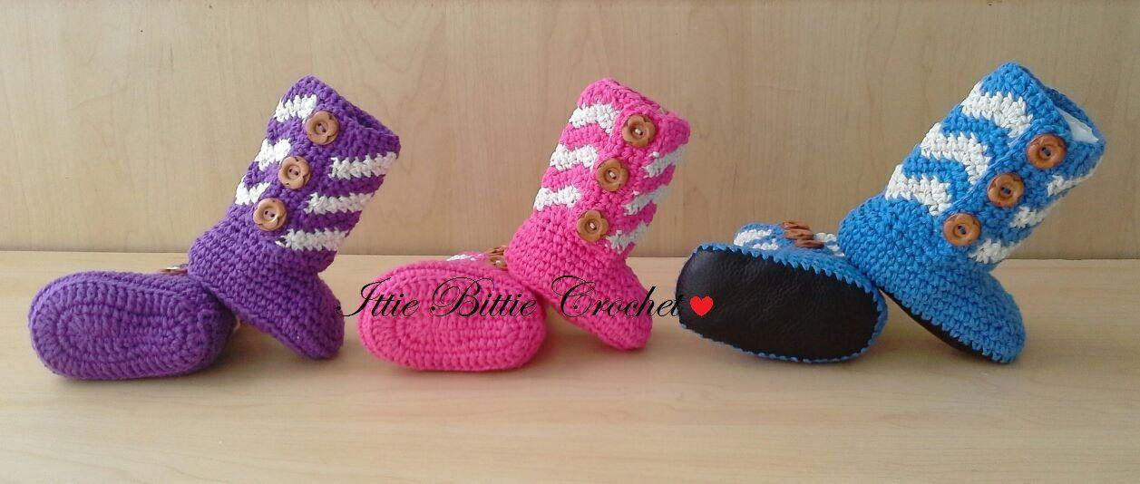 582019c1937 Crochet Chevron Booties, Baby girl hi-top booties, baby and toddler ...