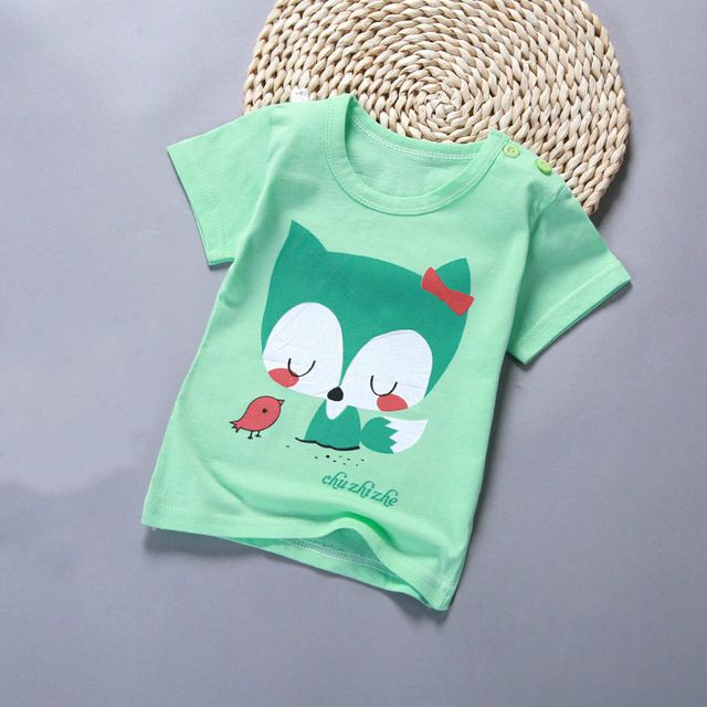 Cartoon Print Tees Tops Kids Girls Boys Short Sleeve Summer Cotton T-shirts