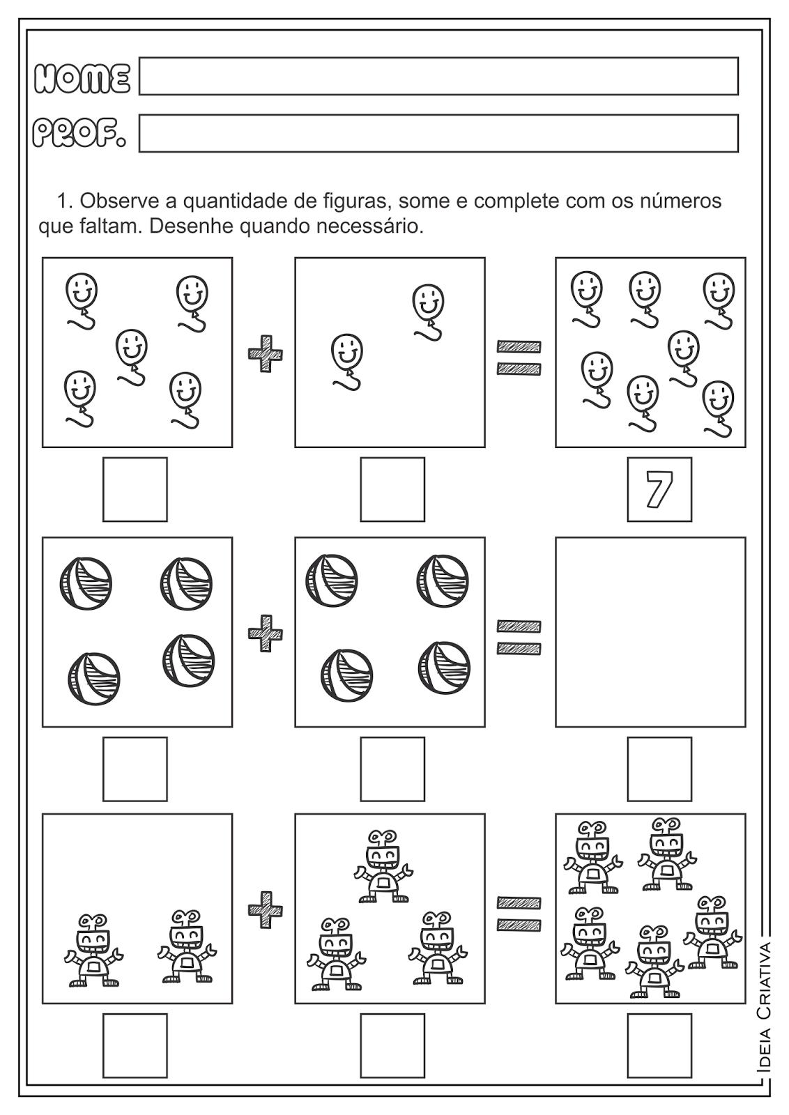 Atividades Adição e Subtração Matemática para Ensino ...