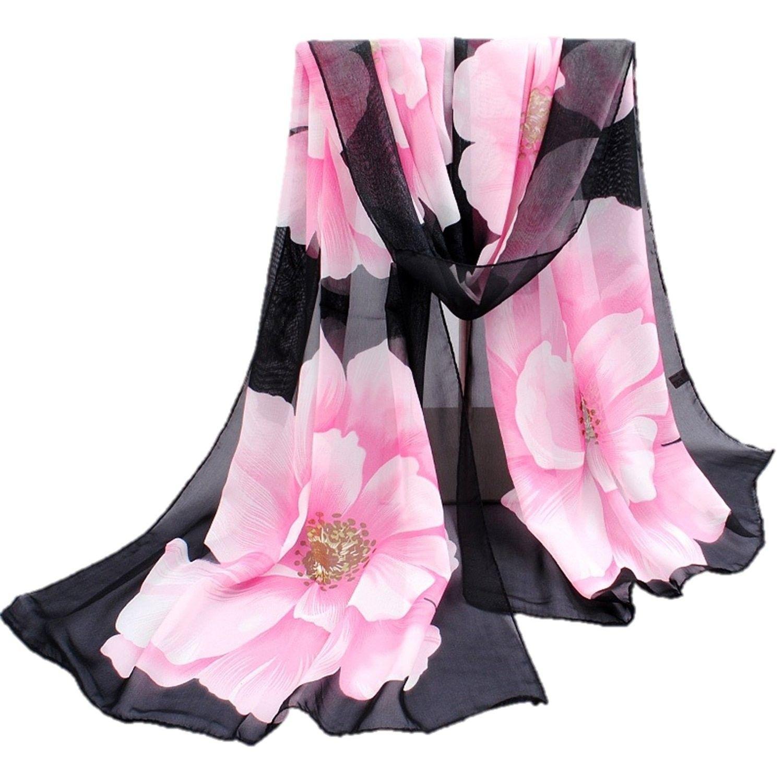 LADIES BLACK GREY COLOR FLOWER DESIGN CHIFFON SCARF STOLE SHAWL HEAD WRAP COVER