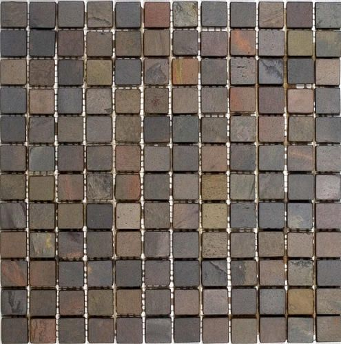Indian Rain Tumbled Slate Mosaic Floor Or Wall Tile 1 X 1 At Menards Mosaic Flooring Mosaic Tiles Stone Mosaic Tile