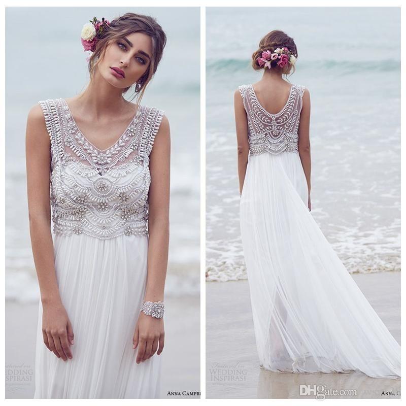 2015 New Anna Campbell Beach Wedding Dresses Vestidos De Novia V Neck Crystal Beaded Top Chiffon