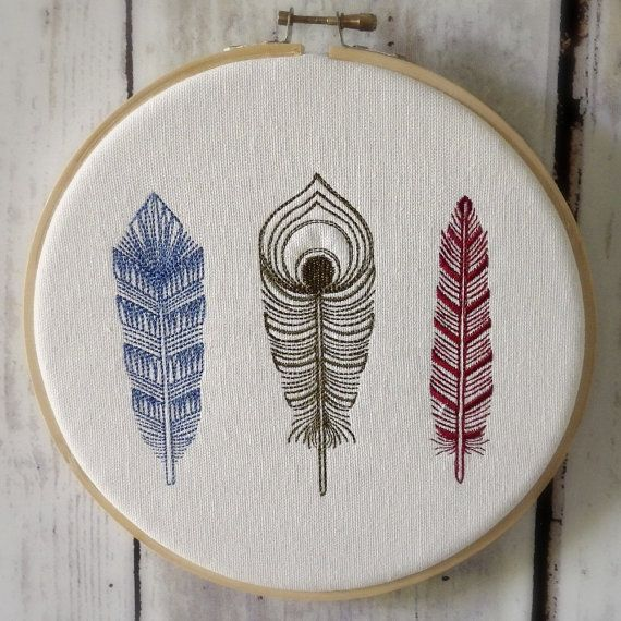 Hoop Art Feathers Machine Embroidered Wall by CaboPickles | DIY ...