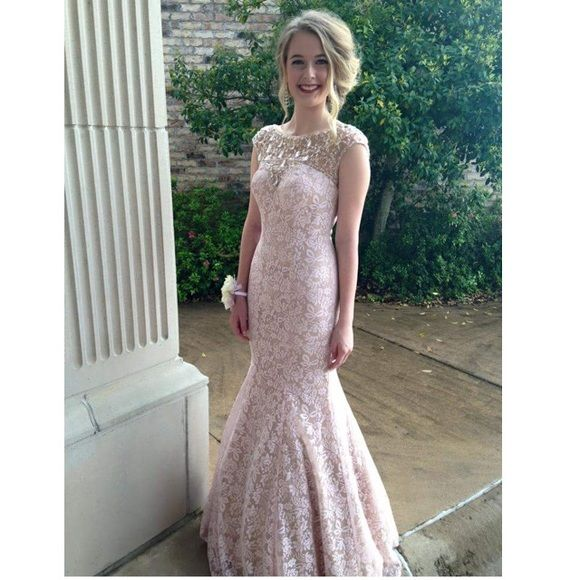 Prom Dress Light pink dress, size 2, with gems at the top. Mermaid style Dresses Prom