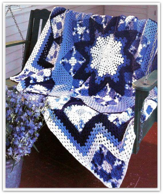 Crochet Afghan Pattern - Crochet Granny Square and Star Medallion ...
