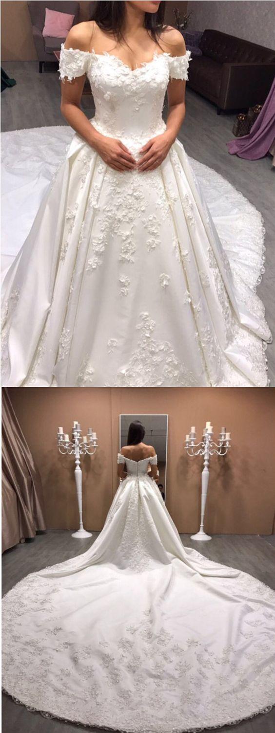 Lace embroidery vneck royal train satin wedding dresses