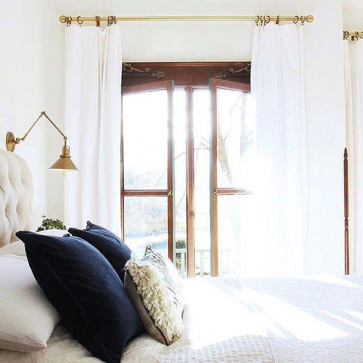 White bedding navy accent pillows Inspiration home Pinterest