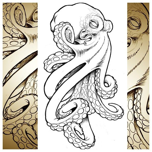 this abstract octopus tattoo design is an example of one of the ways that a tattoo
