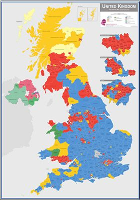 Map Of Uk 2017.Uk Parliamentary Constituency Boundary Wall Map June 2017 Results