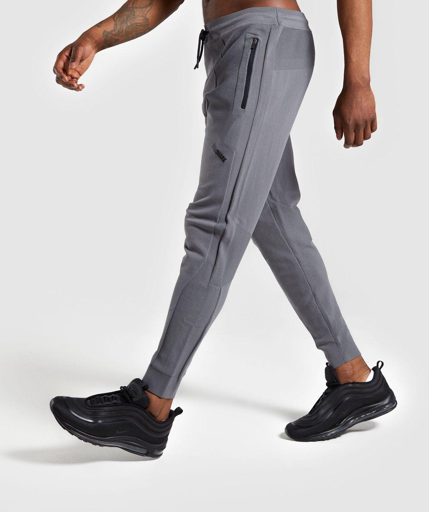 Mens Cotton Knit slim Fit GYM Jogger stretch Ripped tracksuit skinny bottom Grey