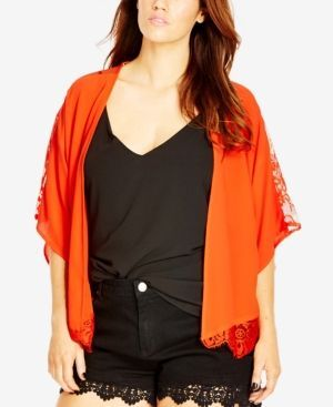 City Chic Plus Size Lace-Trim Kimono Cardigan - Orange | Cardigans ...