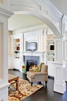 I Like The Trim Around Built In Bookshelves And Arch Is Lovely JD Bergevin Homes Incs Design Pictures Remodel Decor Ideas