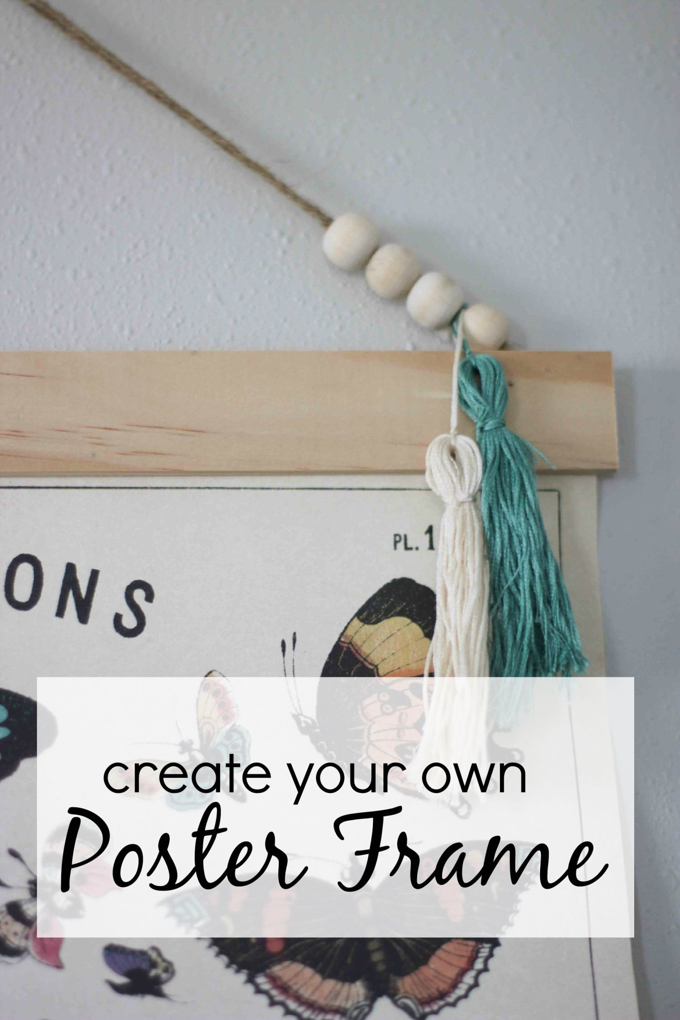 Create your own poster frame to hang large prints. DIY steps from ...