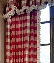 Red Buffalo Check Love It Add The Pom Poms I M Sold Gingham Curtains Cottage Curtains Red Cottage