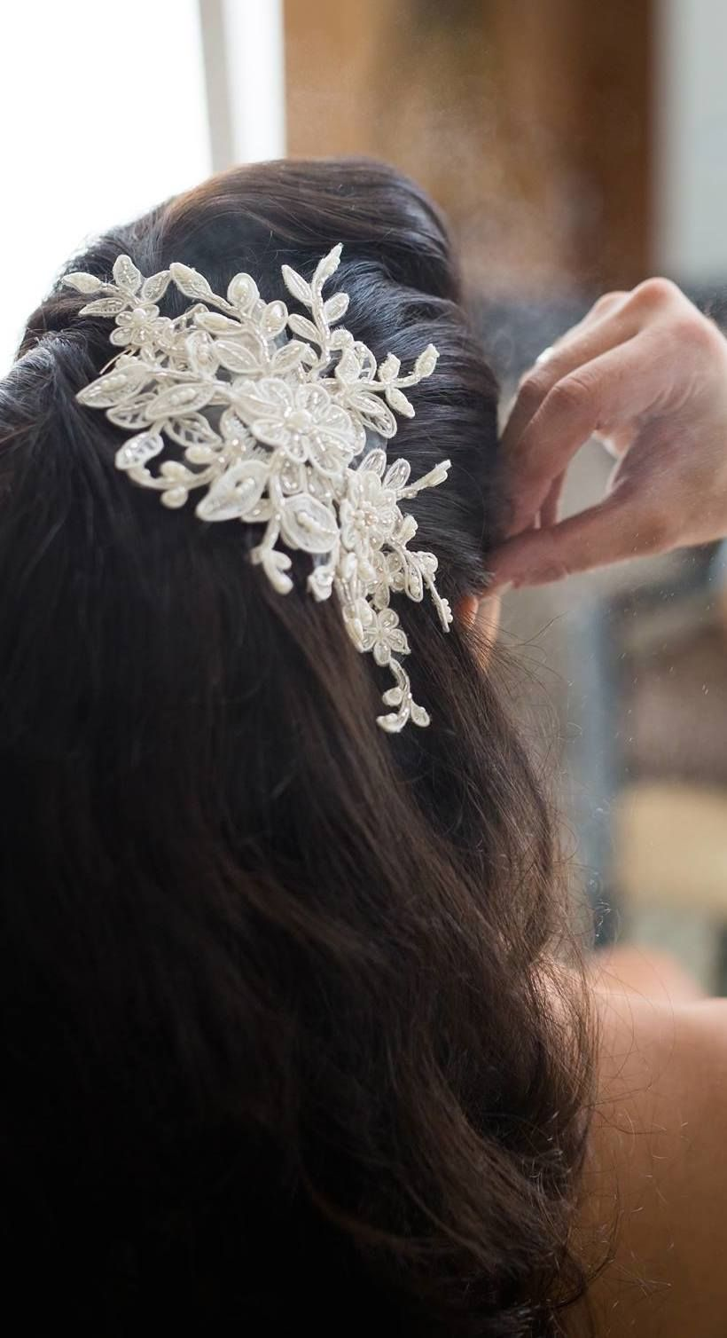 lace hairpiece - lace bridal hair comb - veil comb - wedding