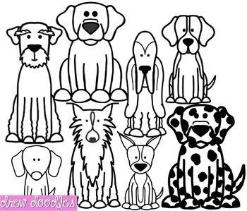 Dogs Set 2 Clipart Black Line Version Dog Coloring Book Dog Drawing Clip Art