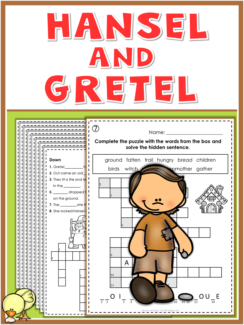 Hansel And Gretel Puzzle Fun First Grade Writing Vocabulary Practice Book Activities