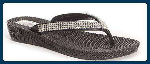 Damen Pantoletten Sandalen Flip-Flops, Sommer, Strand, mit Keil, bequem, weiß - weiß - Größe: 37.5
