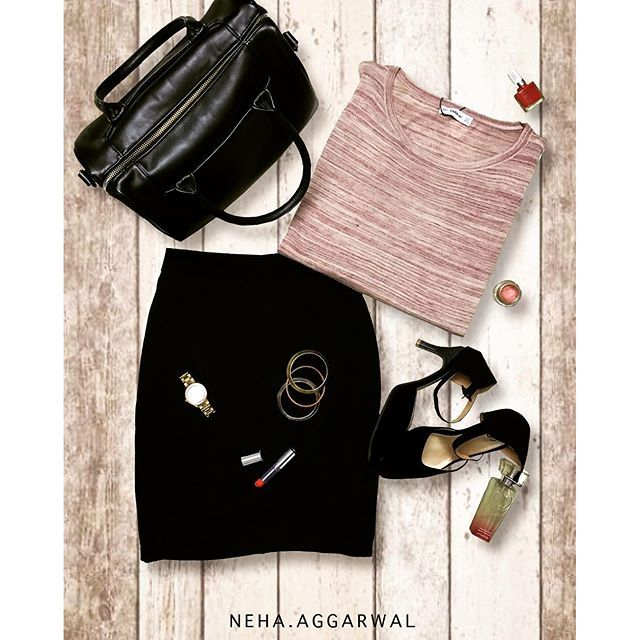 #LookYourBestIn  1. Melange Sweater Top  2. Black Pencil Skirt 3. Black Duffle Bag  4. Junk Jewellery  5. Metallic Watch 6. Red Lipstick  7. Black Stilettos  8. Perfume  #victoriassecret #zara #aldo #veromoda #fossil #colorbar #melange #pencilskirt #bangles #junkjewellery #corporatelook #black #perfume #watch #stilettos #top #redlipstick #pinkblush #maybelline #dufflebag