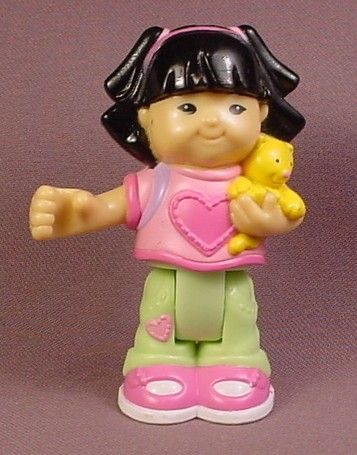 Fisher Price Little People SONYA LEE in PINK DRESS ASIAN GIRL Waving 1997
