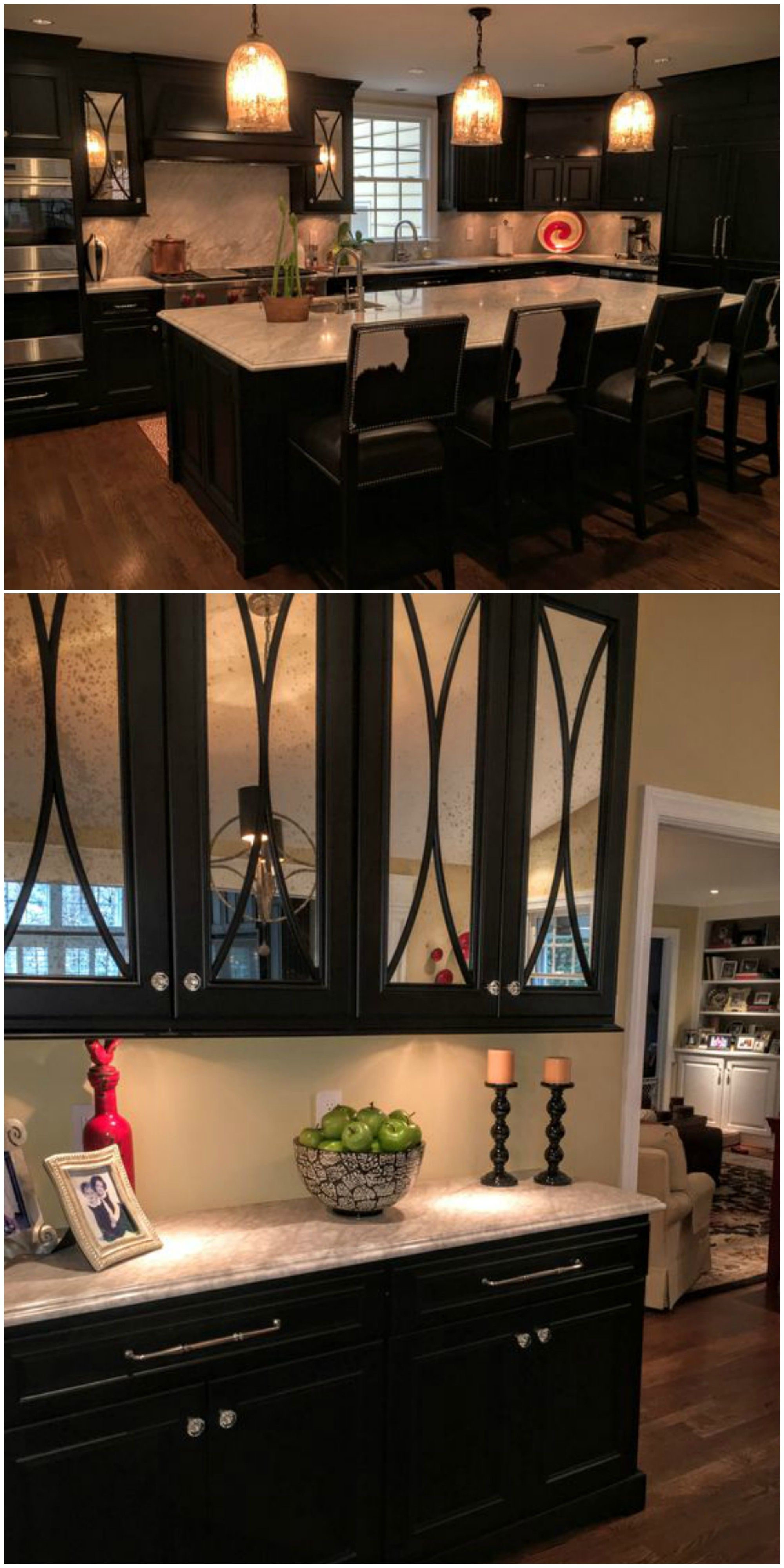 Dark Painted Kitchen Mercury Glass Fronted Doors with Arched