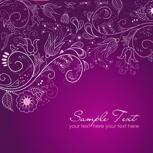 Hand Drawn Purple Fl Backgrounds Vector 01
