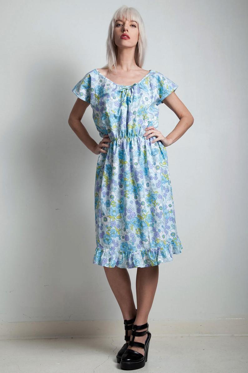 Vintage 70s Summer Dress Blue Floral Cotton Pleated Hem Elastic Waist Large Extra Large L Xl Summer Dresses Blue Summer Dresses Floral Blue Dress [ 1191 x 794 Pixel ]
