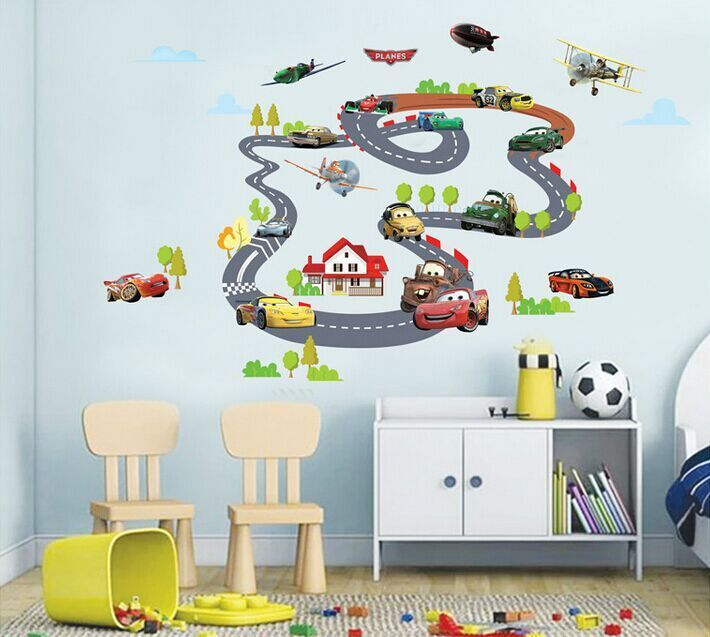 Wonderful Wallpaper Tv Picture From YiWu Full Sunshine Home Ltd About Lovely Cartoon  Cars Pathway DIY PVC Removable Wall Stickers Kids Room Nursery Decor Mural  Decal ...