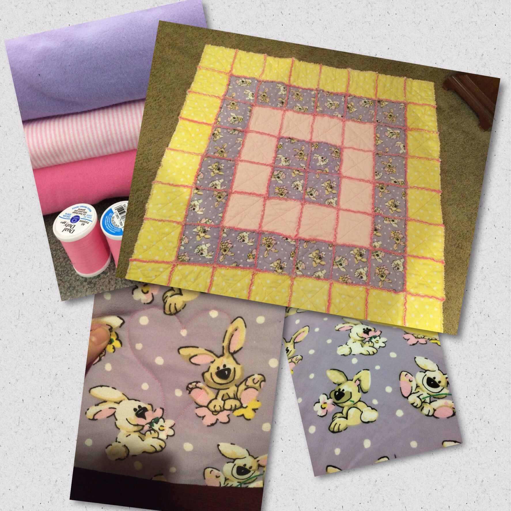 Cecelia's Bunny tummy time quilt 2015