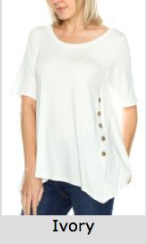 Solid Round Neck Side Button Detail Top