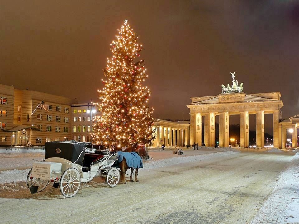 A snowy scene in Germany, complete with a horsedrawn