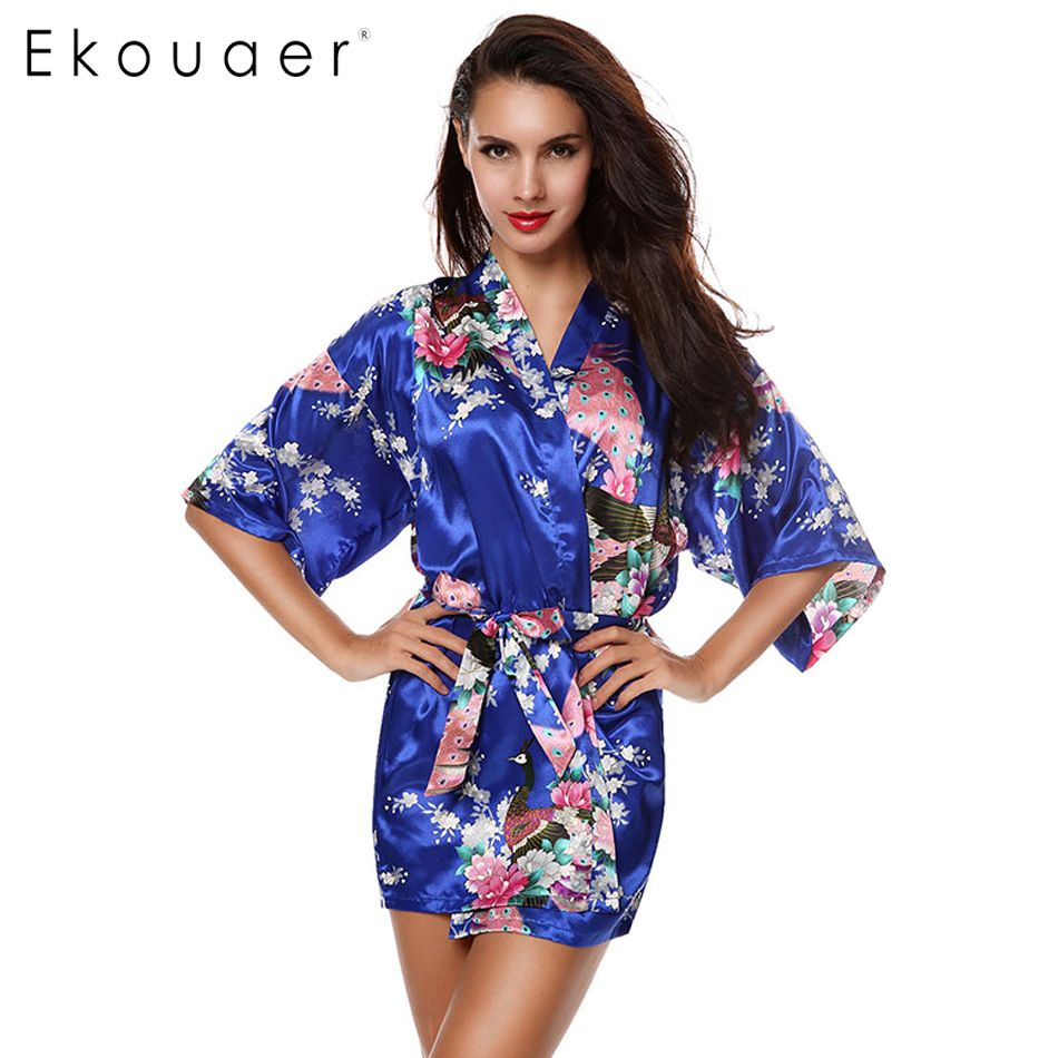 2017 Sexy Female Robes Printed Floral Kimono Dress Gown Chinese Style Faux  Silk Satin Robe Nightgown Flower M L XL XXL 14 Colors-in Robes from Women s  ... 5b0a6f718